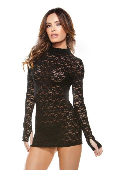 LACE TEASE: Sexy Lace Turtle Neck Long Sleeved Mini Dress (Black): Clothing