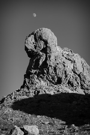 Rock formation, moon and shadow, Trona Pinnacles