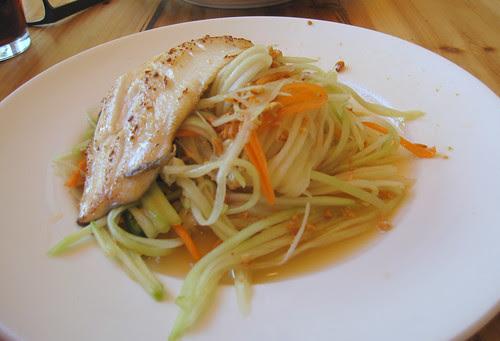 trout/papaya salad