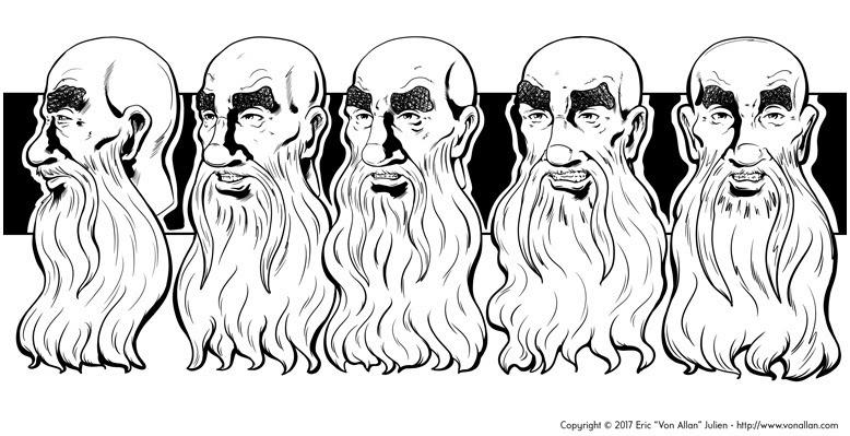Head Turnarounds of Bill the Wizard by Von Allan