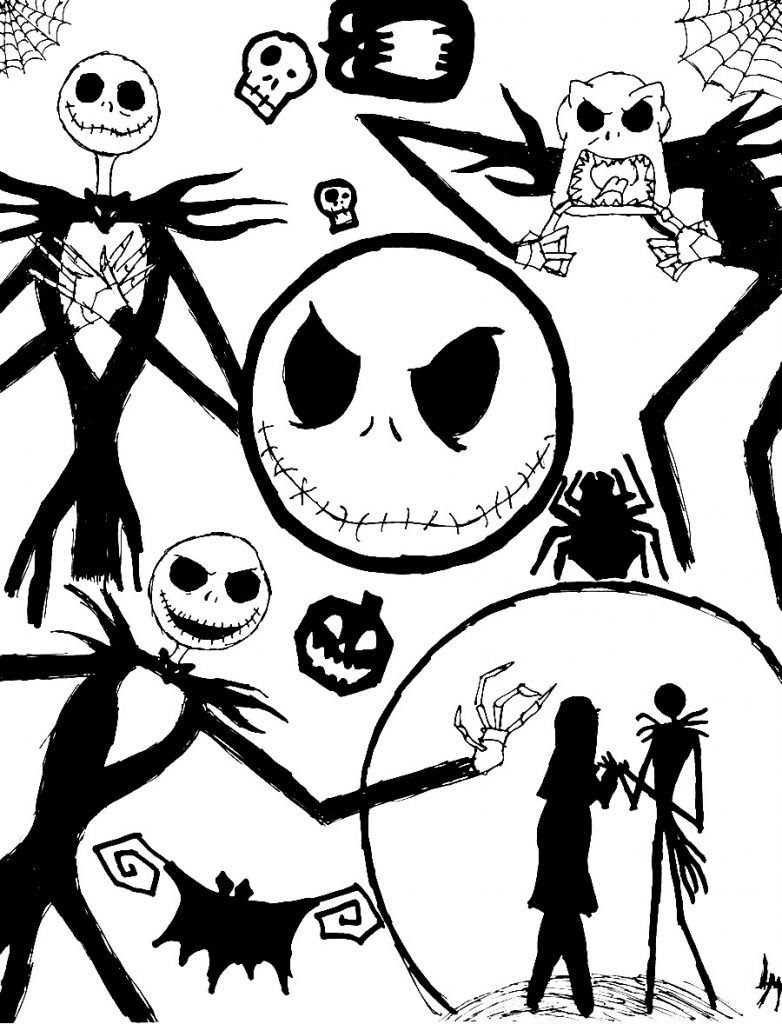 Free Printable Nightmare Before Christmas Coloring Pages - Best ... | 1024x782