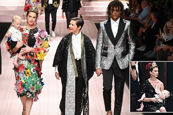 ddff88a7 Isabella Rossellini walks Dolce & Gabbana runway with son, daughter, and  grandson
