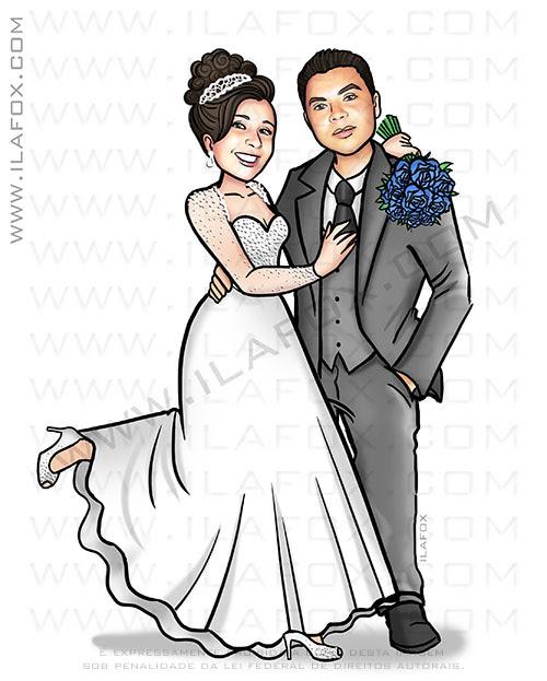 caricatura proporcional, caricatura casal, caricatura elegante, caricatura de casamento, by ila fox