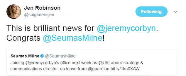 She congratulated him on becoming Labour's to spin doctor with the message: 'This is brilliant news for @jeremycorbyn. Congrats @SeumasMilne!'