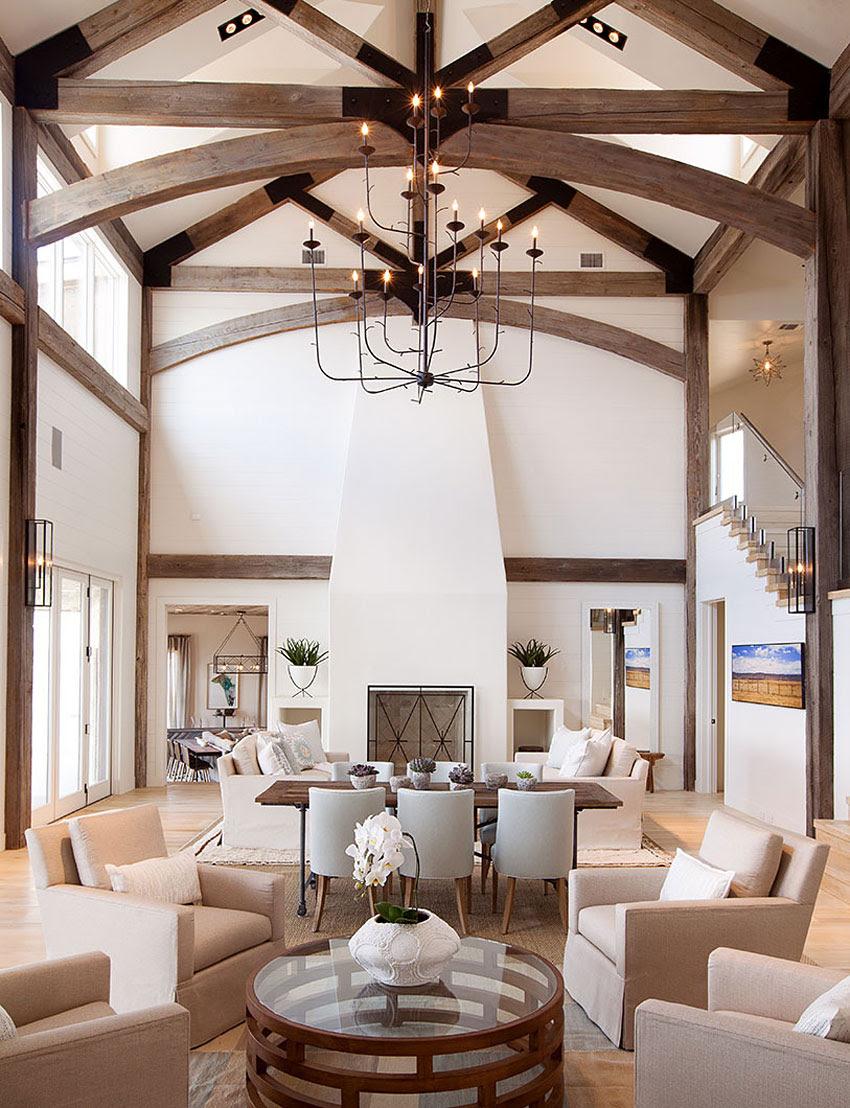 Large Beams Chandelier Living Room