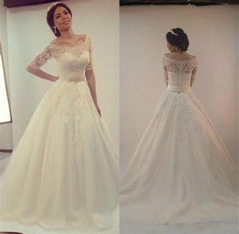 Elegant Real Image Wedding Dresses Half Sleeve 2016 Sheer