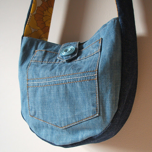 two tone blue denim reversible purse