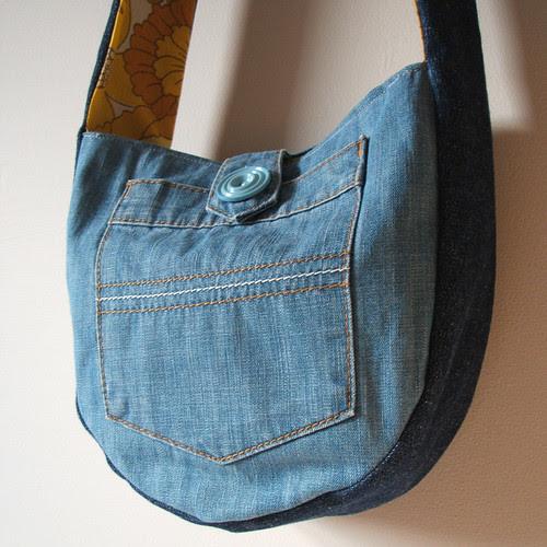 two tone blue denim reversible purse