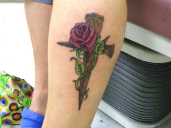Cross And Rose Tattoo