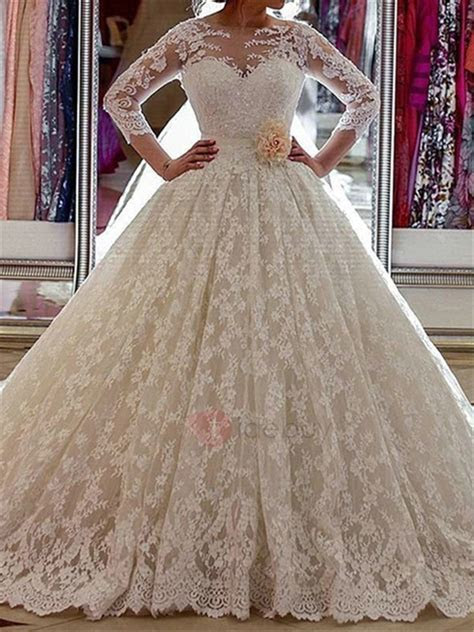 3/4 Length Sleeve Lace Ball Gown Wedding Dress : Tidebuy.com