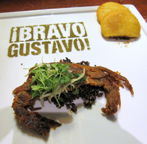 softshell crab with arepas