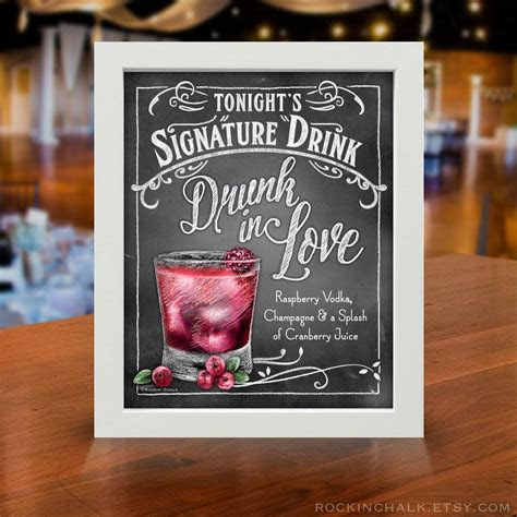 Custom Made Signature Drink Signs Made to Order for your
