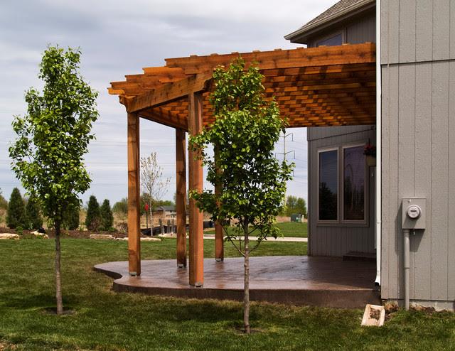 House - Cedar pergola with stamped concrete patio ...