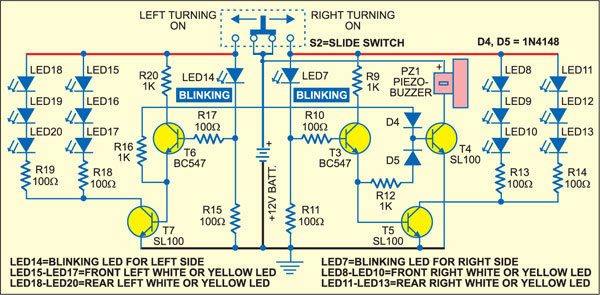 White LED-Based Emergency Lamp and Turning Indicator