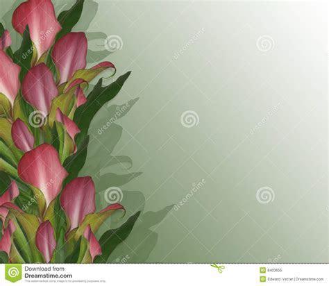 Calla Lilies Border Wedding Invitation Stock Illustration