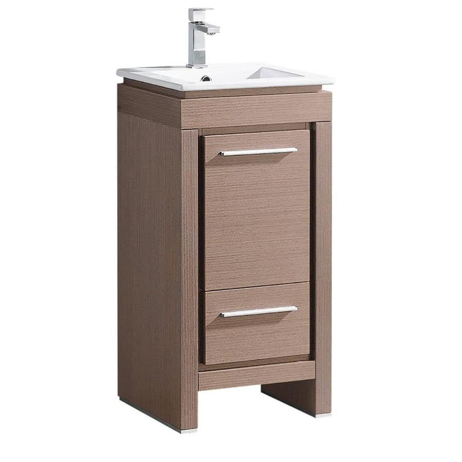 Fresca Allier 16 In Gray Oak Single Sink Bathroom Vanity With White Ceramic Top In The Bathroom Vanities With Tops Department At Lowes Com