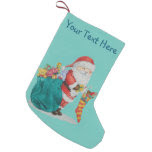 Cute father christmas with toys and gifts in sack small christmas stocking