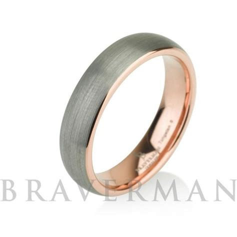 Rose Gold Mens Tungsten Carbide Wedding Band Ring 5mm 14k