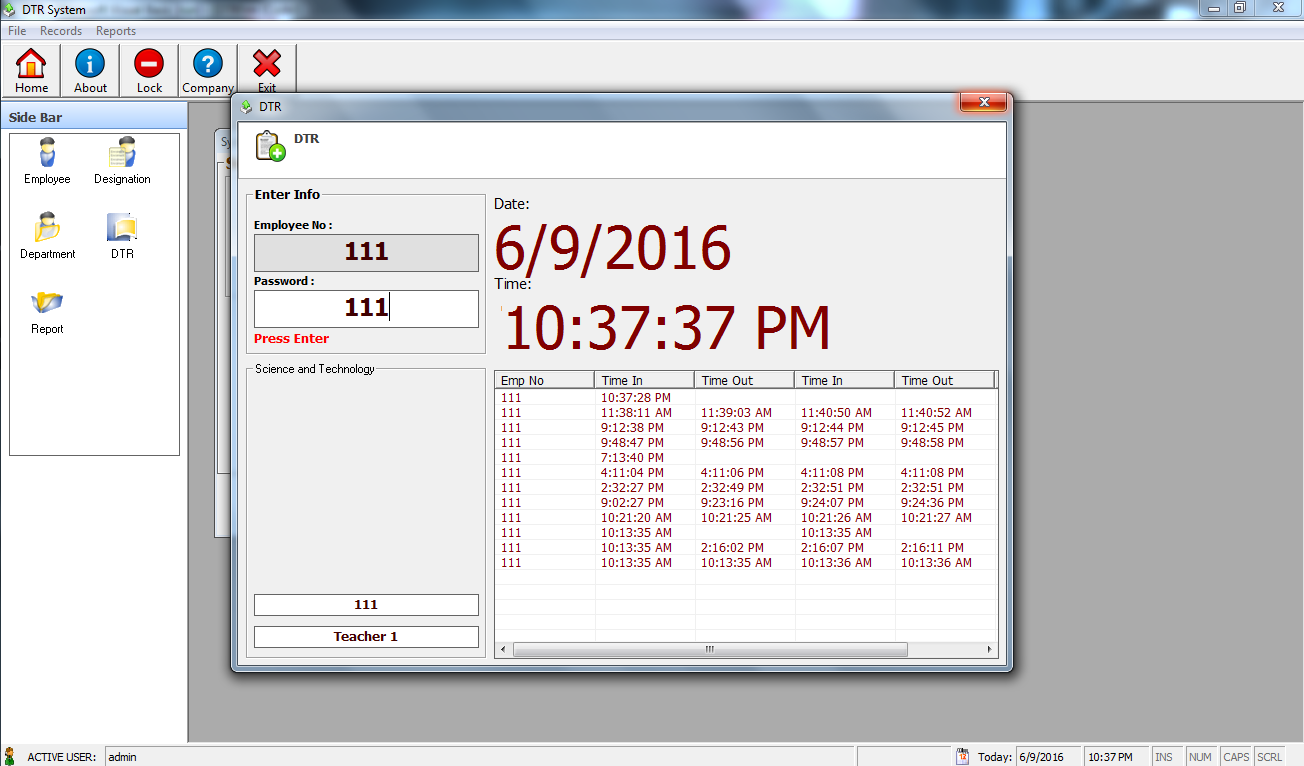 Daily Time Record System Free Download Complete Source code ...