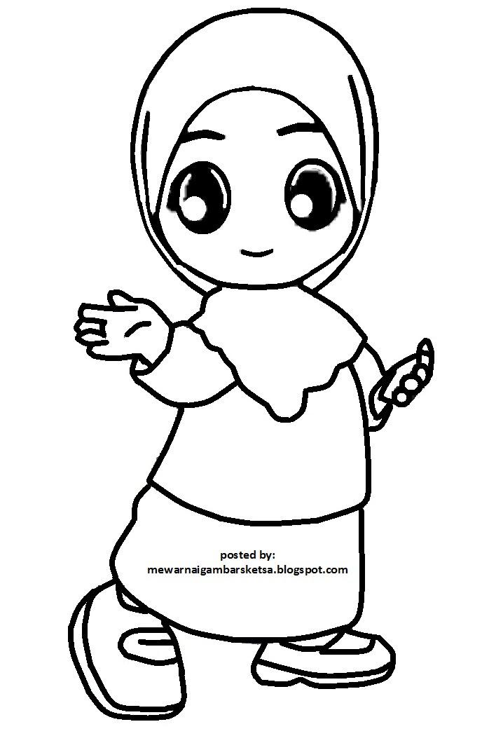Gambar Mewarnai Gambar Sketsa Kartun Anak Muslim 45 Auto
