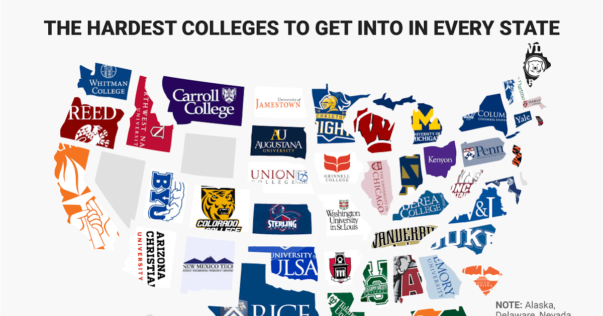 CRAZY COOL GROOVY!!!: MAP Of HARDEST COLLEGES To GET INTO In EVERY STATE In The USA!!!
