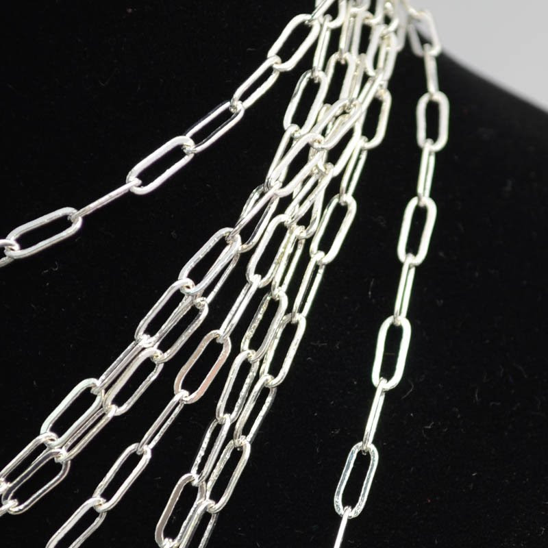 s40268 Chain - 3 x 8 mm Large Oval Links - Bright Silver (Inch)