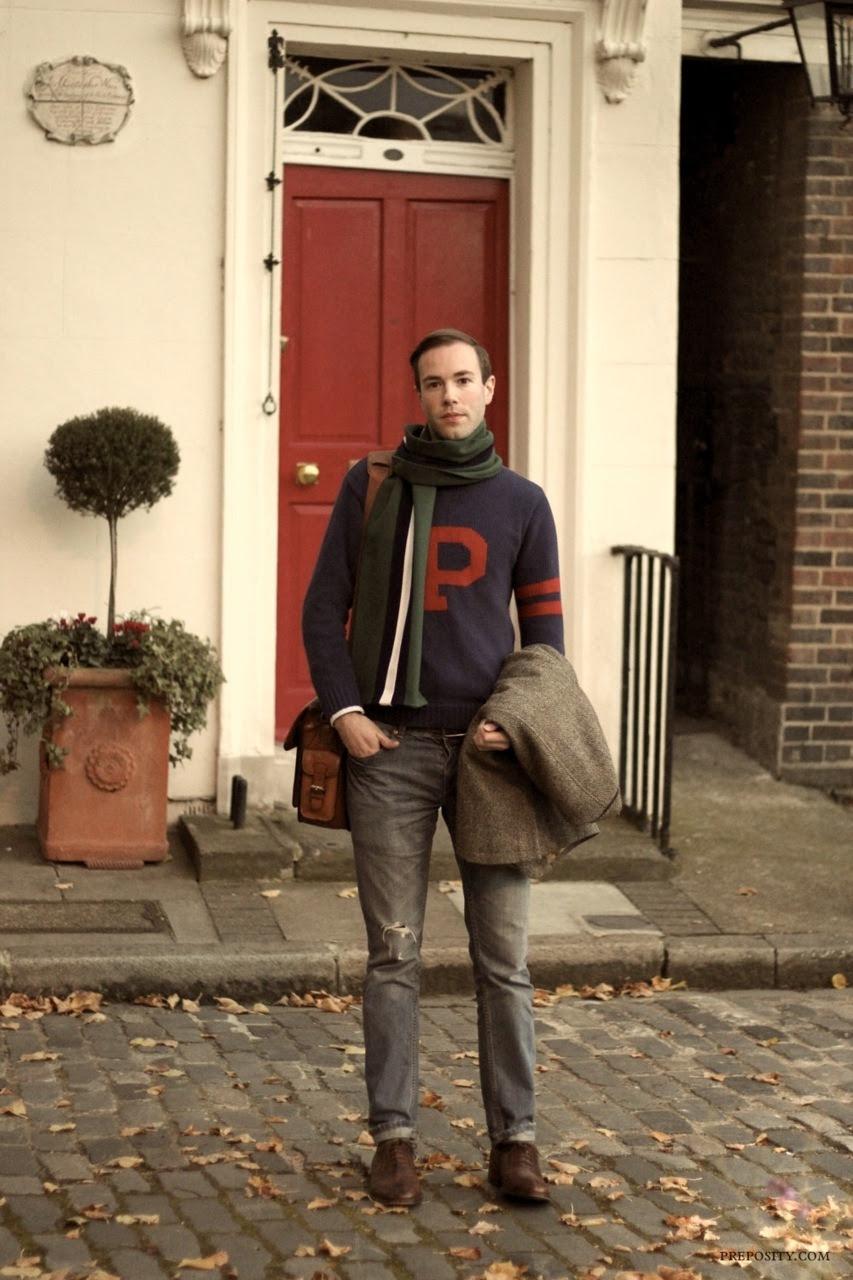 preposity:  Autumn in London – Vintage Ralph Lauren P sweater, collegiate scarf, Harris Tweed blazer.