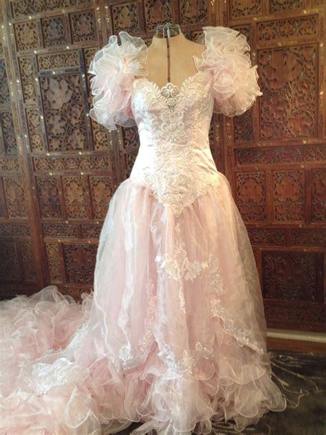 vtg  cotton candy pink wedding dress san martin