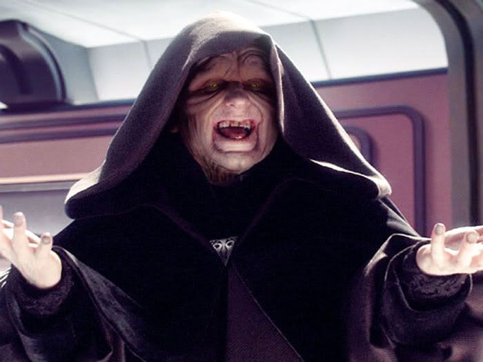 The Emperor gloats after thinking that Yoda got owned by Sidious' Force lightning.