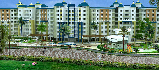 View of 7 Story Buildings - with 2 lifts, 2 staircases & club house - in Dajikaka Gadgil Developers' AnantSrishti, 35 acre gated community, at Kanhe