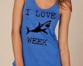 I LOVE SHARK week Girls Ladies Heathered Tank Top Shirt silkscreen screenprint Alternative Apparel - LIttleAtoms