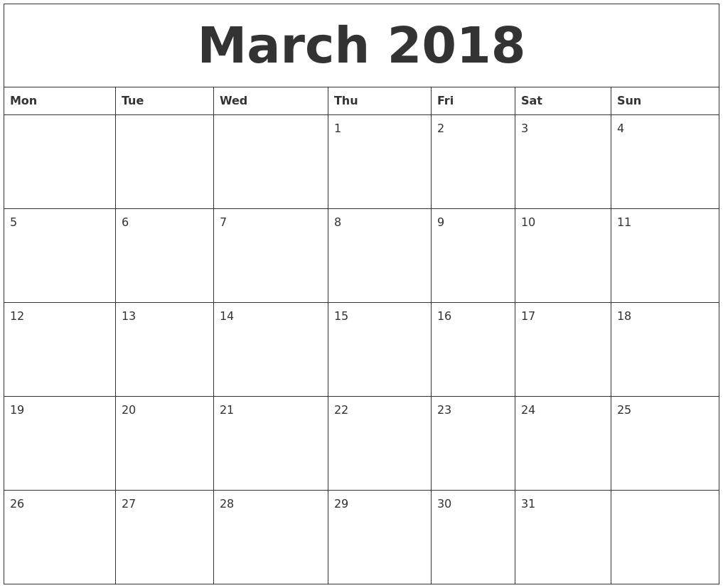 march 2018 free online calendar monday start
