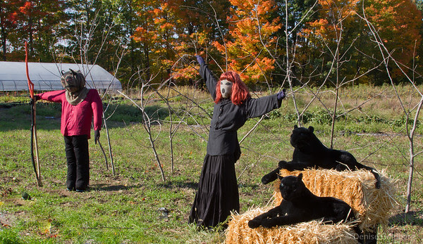 scarecrows dressed for Halloween