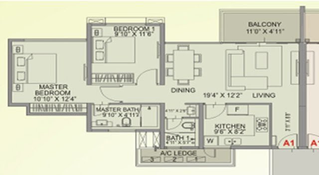 amanora aspire towers 11 - 12 - 2 BHK Flat - 810 sqft carpet
