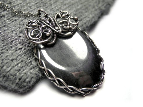 Wire wrapped silver pendant hand made necklace with titanium hematite stone, oval, gothic, victorian, luxury - NurrgulaJewellery
