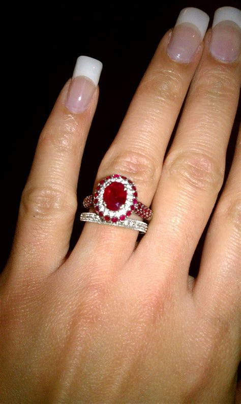 Ruby and Diamond Engagement Ring   Wedding Band   RingSpotters