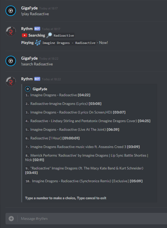 Chat Commands Discord