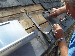 Fitting new zinc gutter to our Brittany Holiday Home