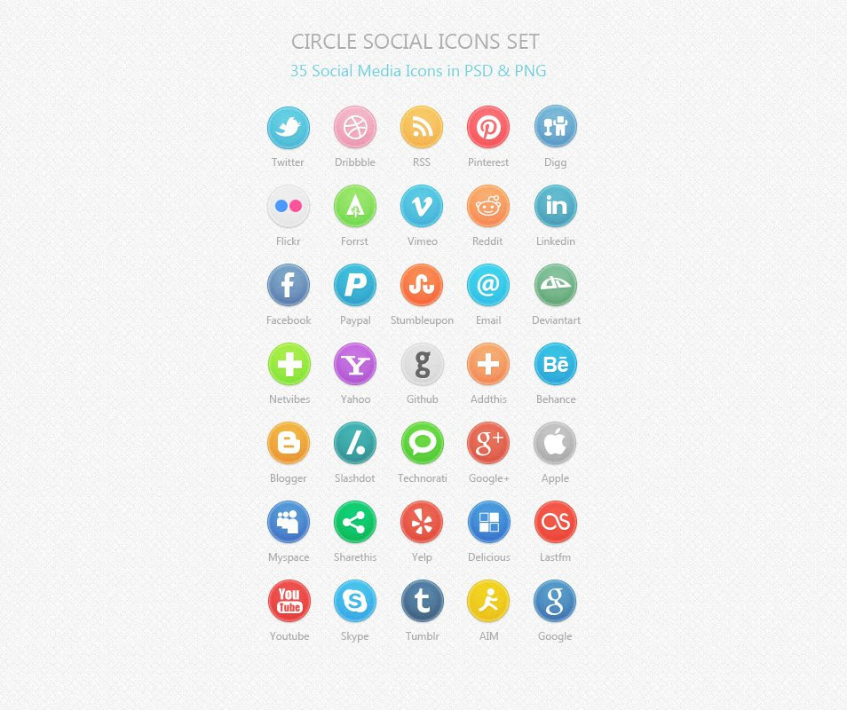 Circle Social Icons Set: 35 Social Media Icons PSD