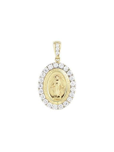 Pave Set Diamond Miraculous Medal Pendant 14K Yellow Gold
