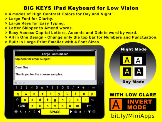 Big Keys iPad High Visibility Keyboard for Low Vision, Macular Degeneration