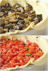 Torta Salata con Melanzane, Pomodori e Caciocavallo-Eggplant, Tomato and Caciocavallo Quiche