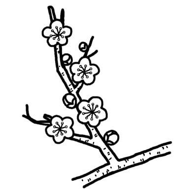 ウメ2ツバキウメ椿梅冬の花無料白黒イラスト素材