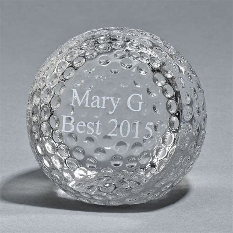 Personalized Large Crystal Golf Ball Paperweight