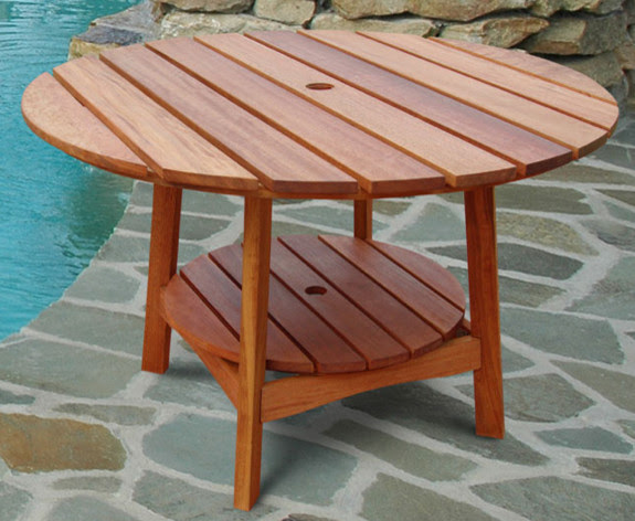 Outdoor Eucalyptus Wood Round Dining Table - Traditional ...