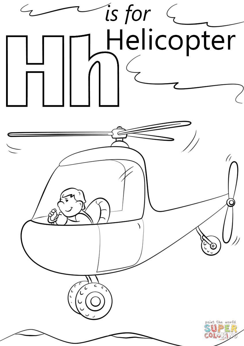 letter h is for helicopters coloring page