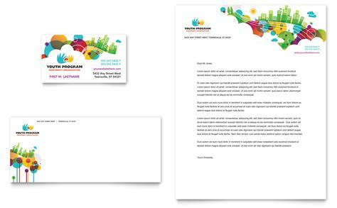 Youth Program Business Card & Letterhead Template   Word