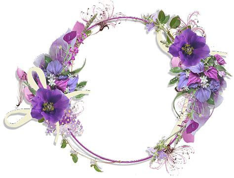 Purple Flower Round Frame   Gallery Yopriceville   High