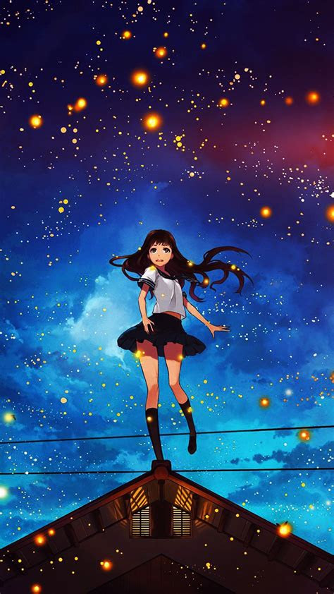 girl anime star space night illustration art flare iphone