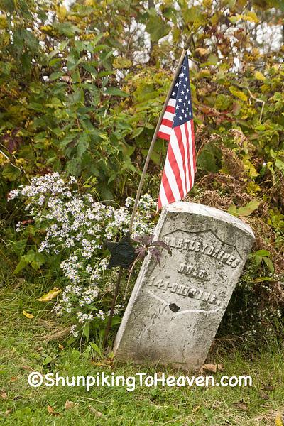 Gravestone of Civil War Veteran, Dell Cemetery, Vernon County, Wisconsin